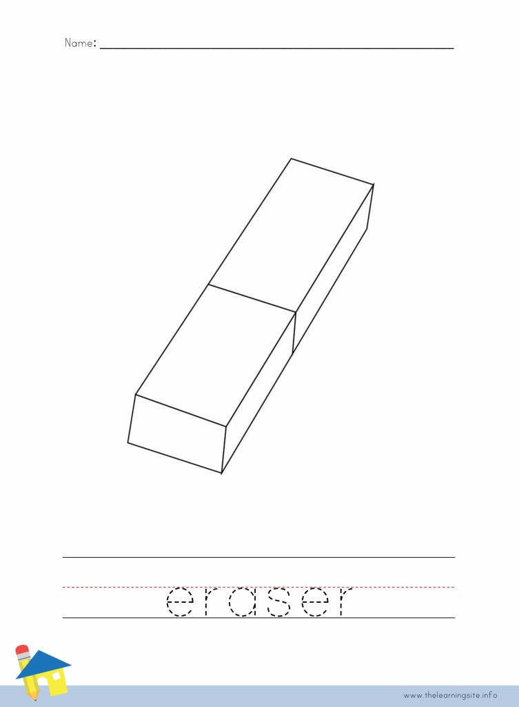 Eraser Coloring Page Outline