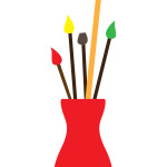 flashcard  art materials paint brushes in vase-01