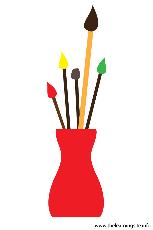 flashcard or clip art paint brushes in vase