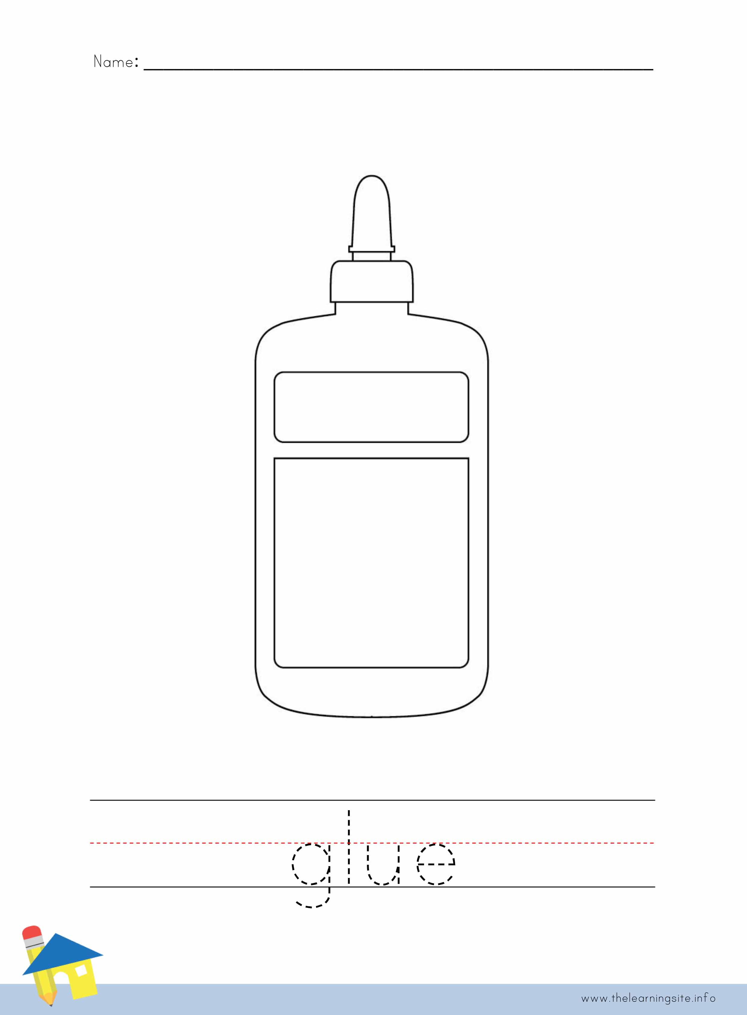 Glue Coloring Worksheet
