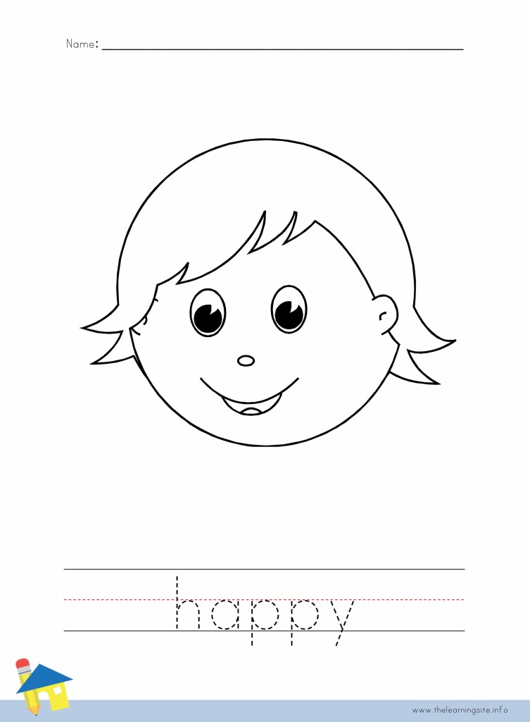 Happy Coloring Page Outline