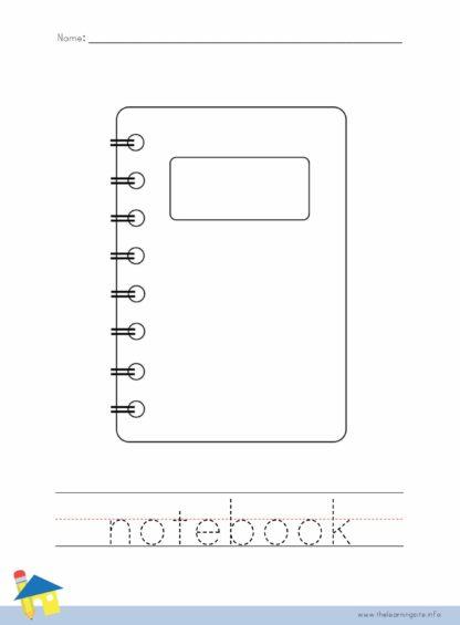 Notebook Coloring Worksheet