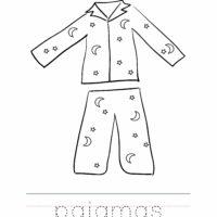 Pajamas Coloring Worksheet