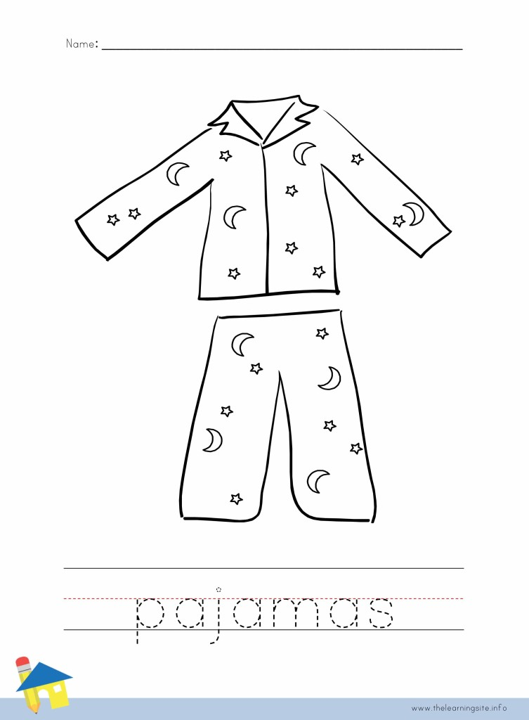 Pajamas Coloring Page Outline