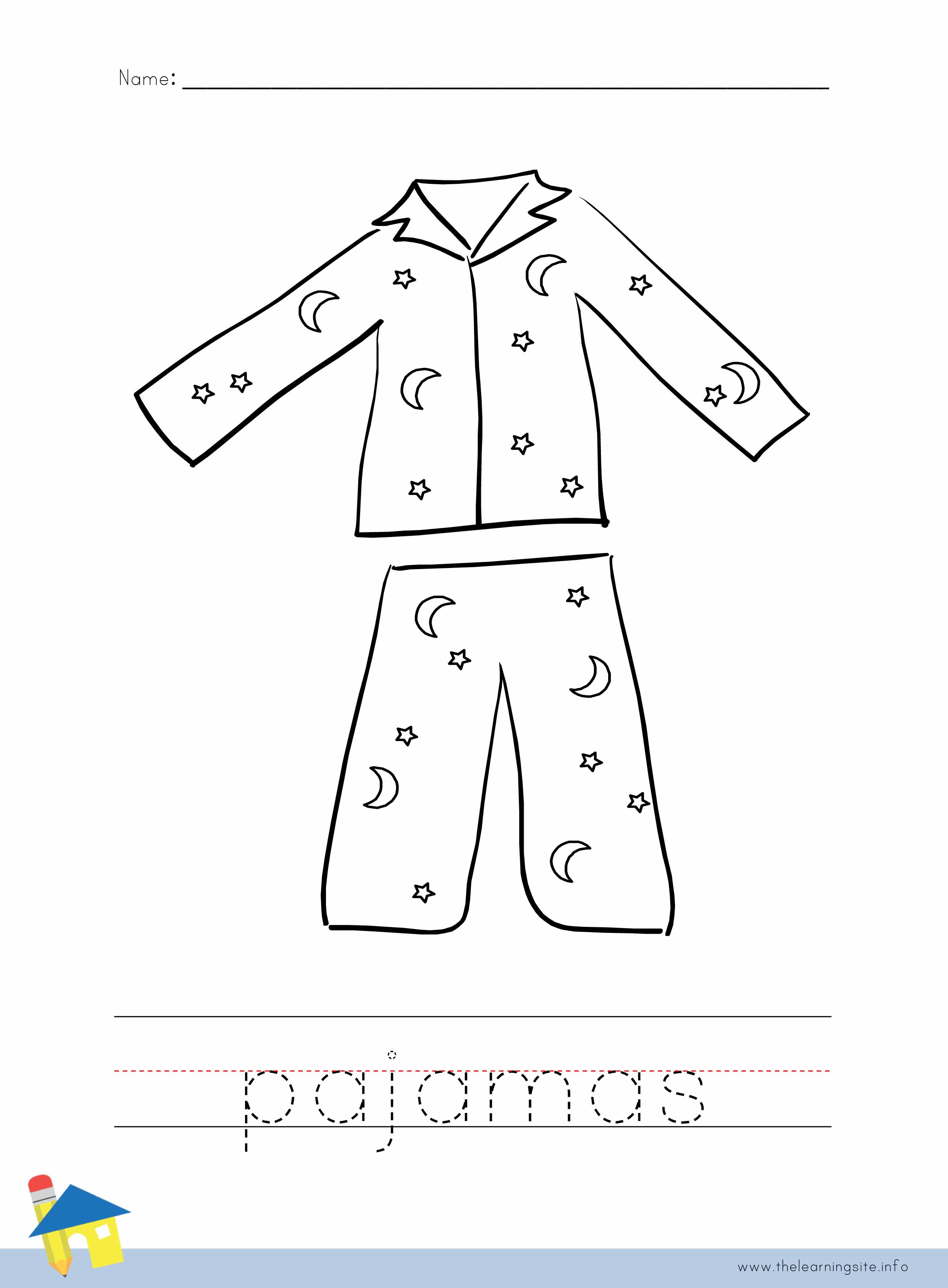 pajama coloring page the learning site