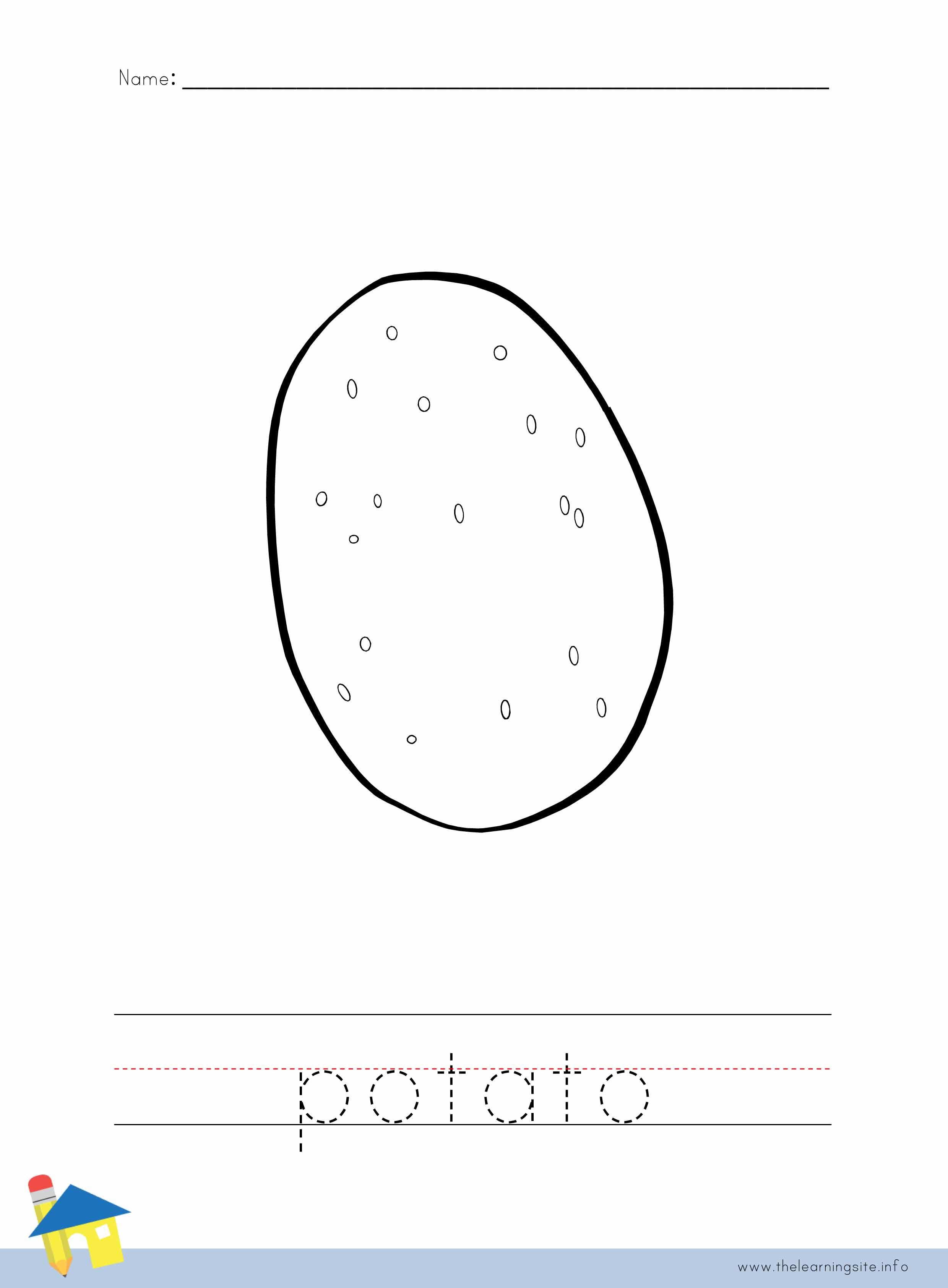 Potato Coloring Worksheet