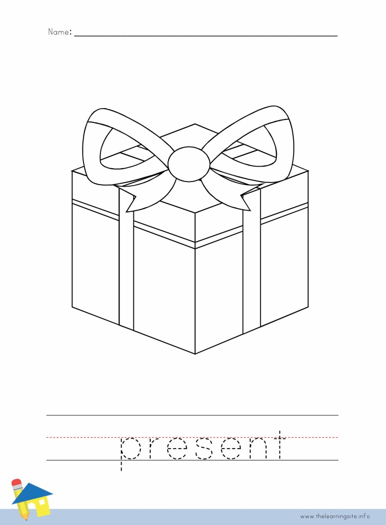 Christmas Present Coloring Page Outline