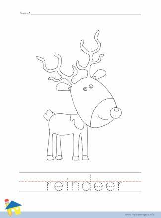 Reindeer Coloring Worksheet