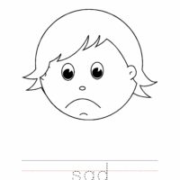 Sad Coloring Page, Sad Outline