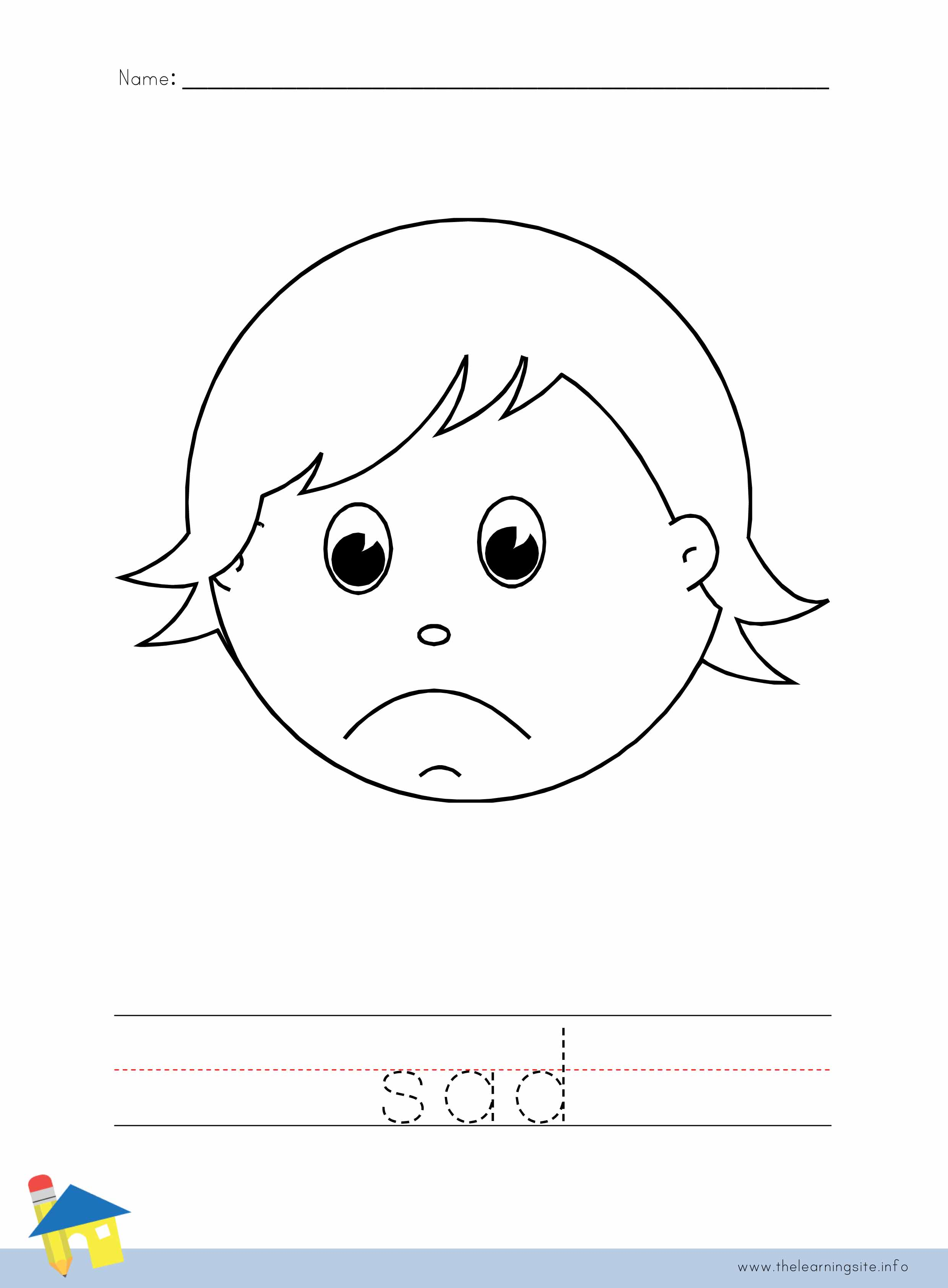 Sad Face Worksheet : The learning site