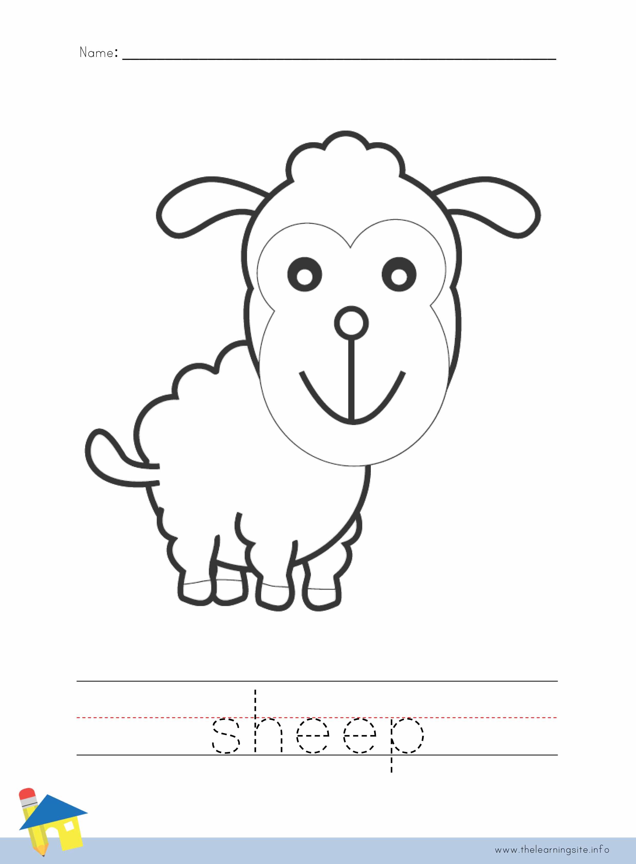 Sheep Coloring Worksheet