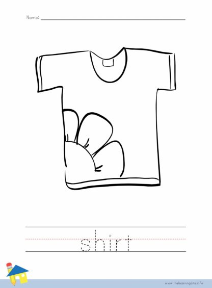 Shirt Coloring Worksheet
