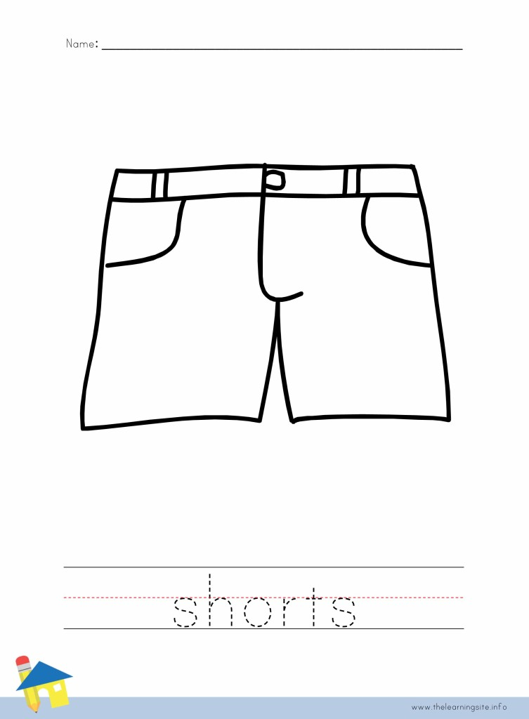 Shorts Coloring Page Outline
