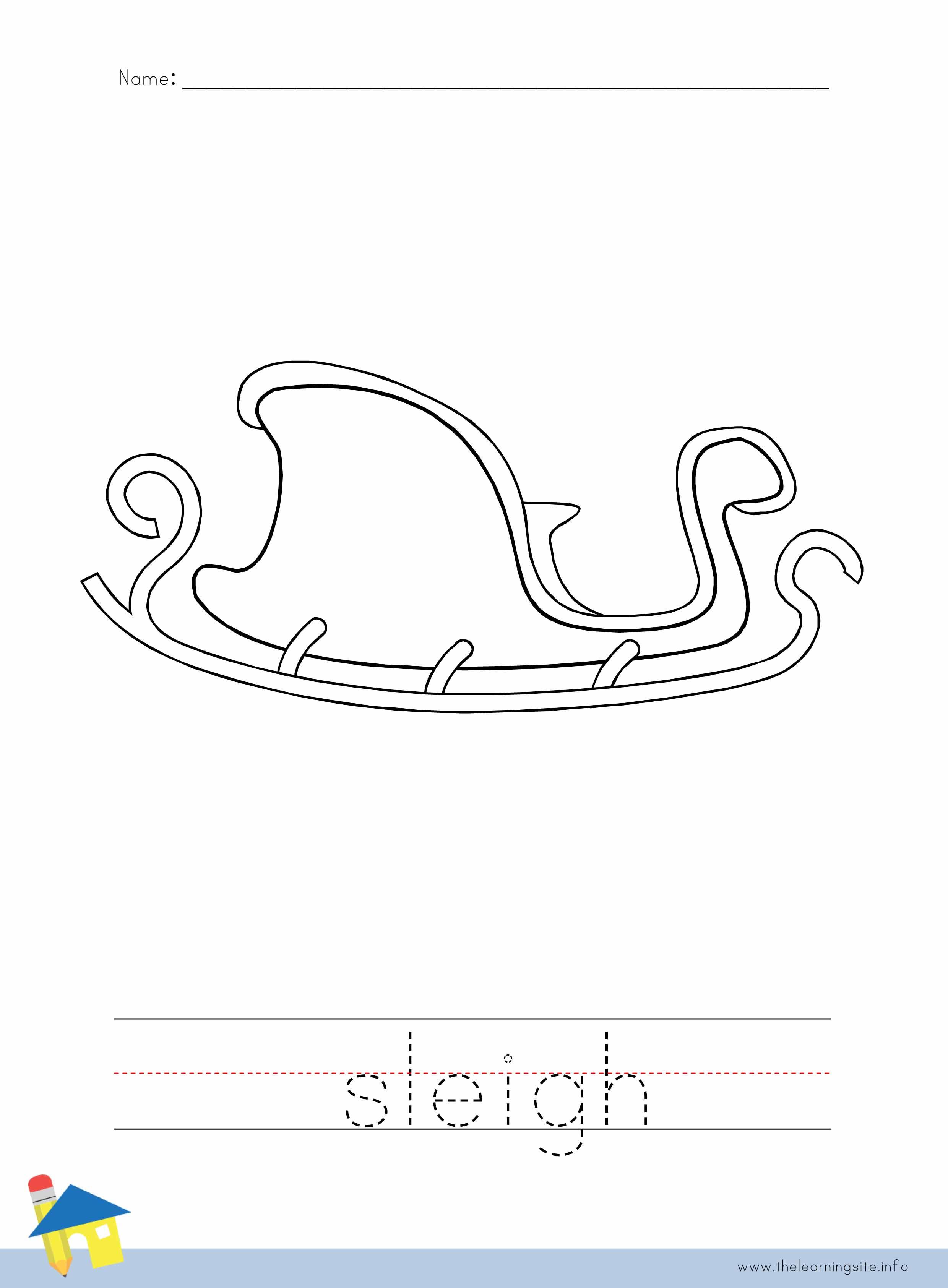 Sleigh Coloring Worksheet