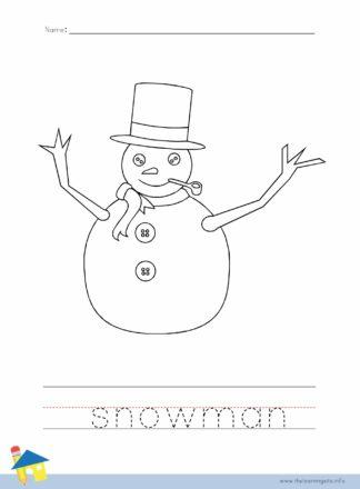 Snowman Coloring Worksheet
