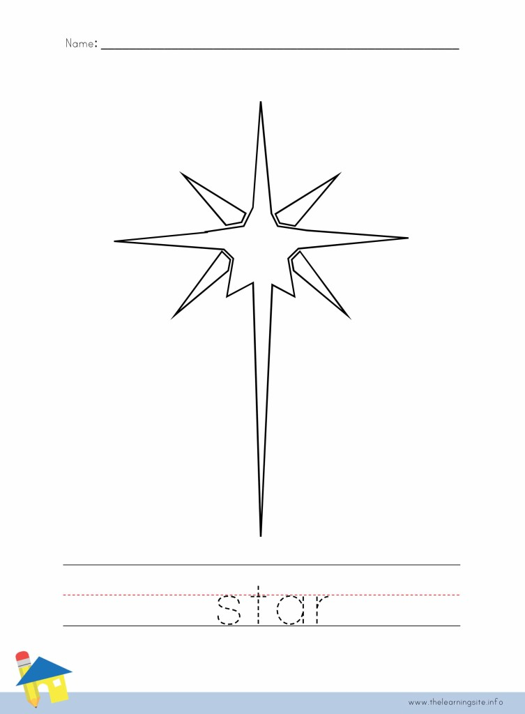 Christmas Star Coloring Page Outline