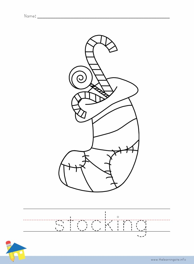 Christmas Stocking Coloring Page Outline