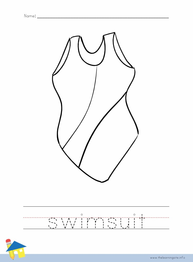 Swimsuit Coloring Page Outline