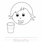 Thirsty Coloring Page, Thirsty Outline