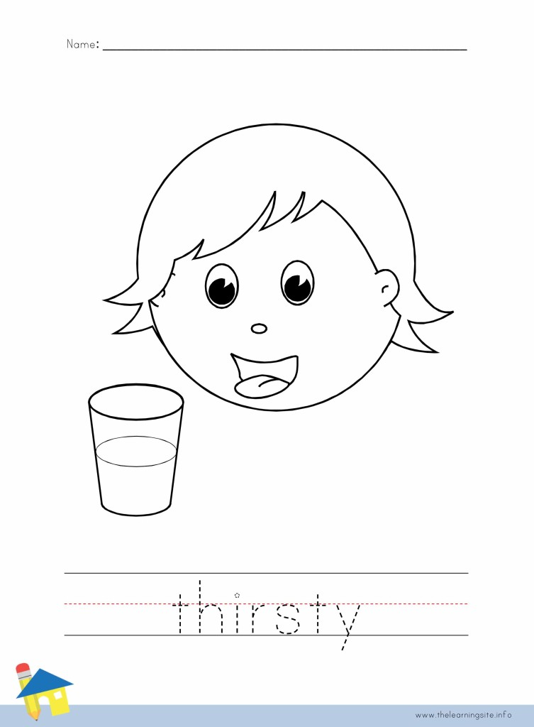 Thirsty Coloring Page Outline