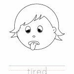 Tired Coloring Page, Tired Outline