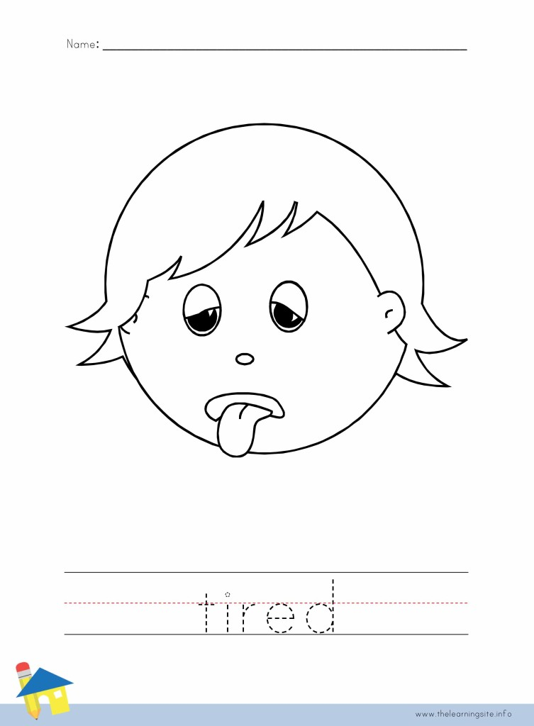 Tired Coloring Page Outline