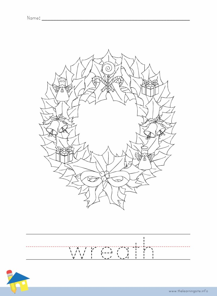 Wreath Coloring Page Outline