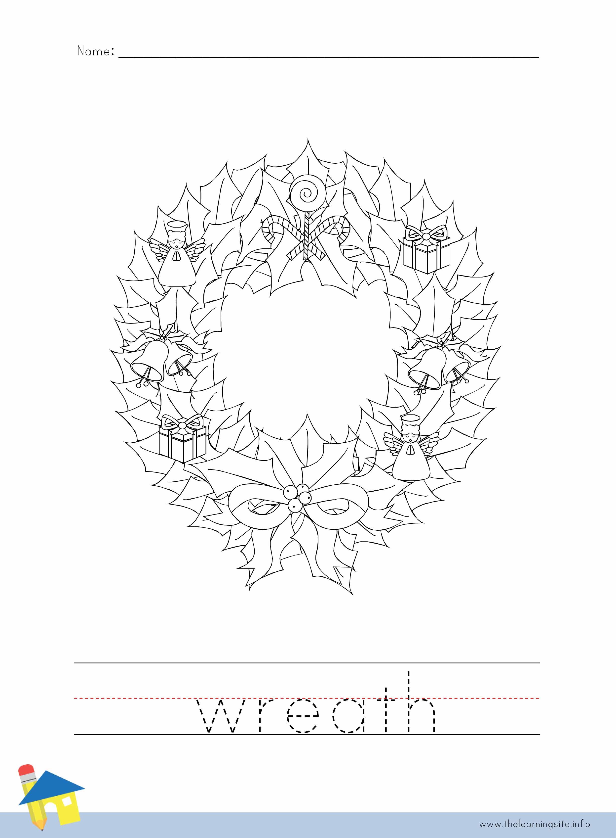 Wreath Coloring Worksheet
