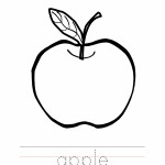 Apple Coloring Page Outline