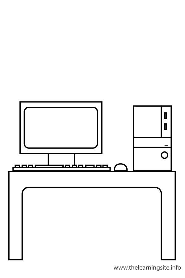 coloring-page-outline-classroom-objects-computer