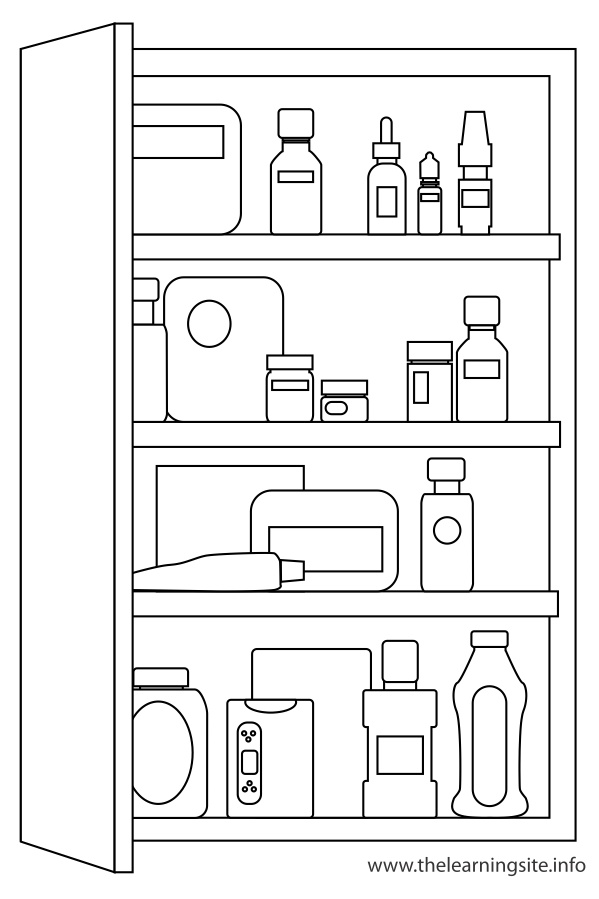 coloring-page-outline-classroom-objects-medicine-cabinet