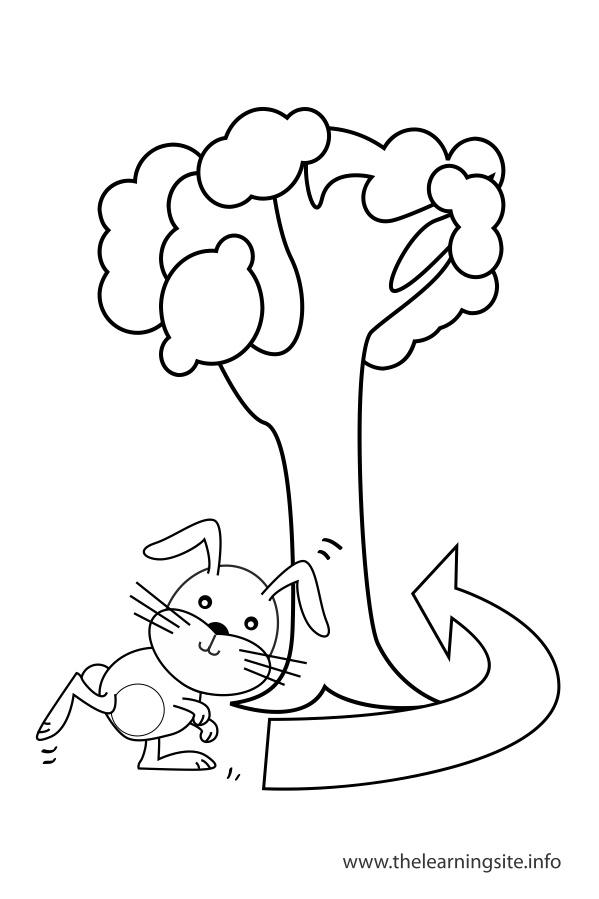 coloring-page-outline-preposition-around-rabbit-running-around-a-tree