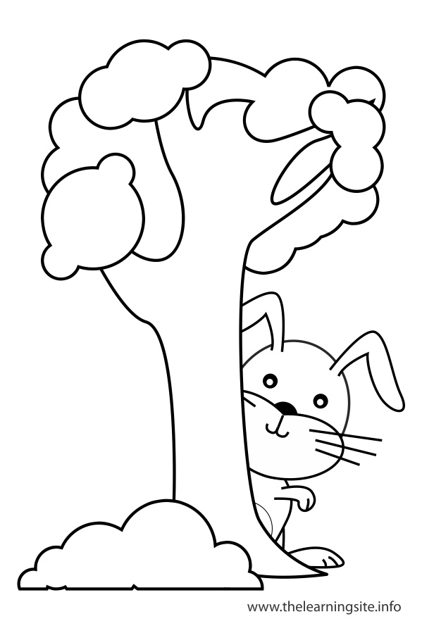 coloring-page-outline-preposition-behind-rabbit-behind-a-tree