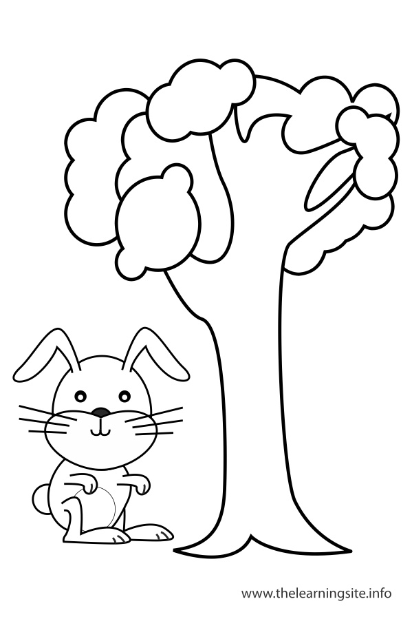 coloring-page-outline-preposition-by-rabbit-by-the-tree
