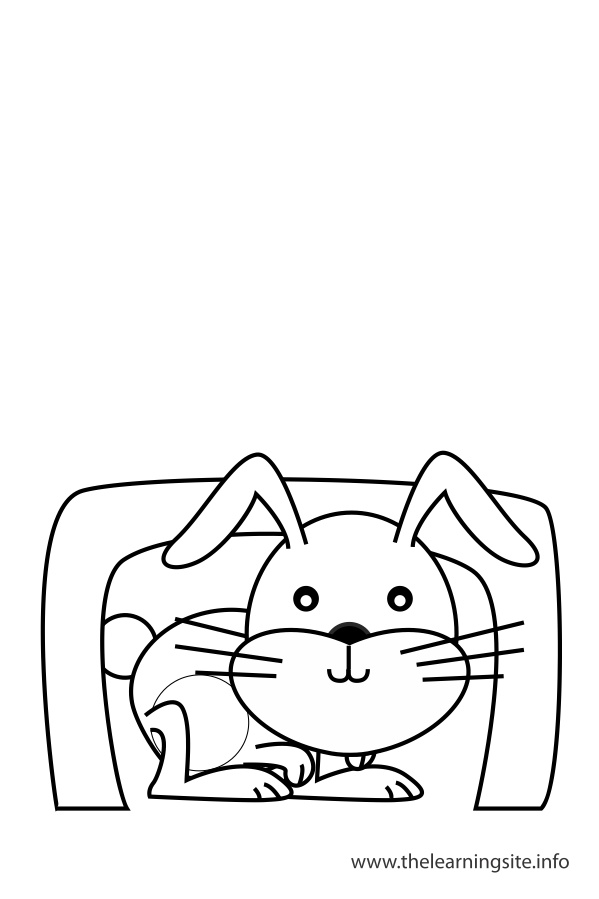 coloring-page-outline-preposition-under-rabbit-under-a-table
