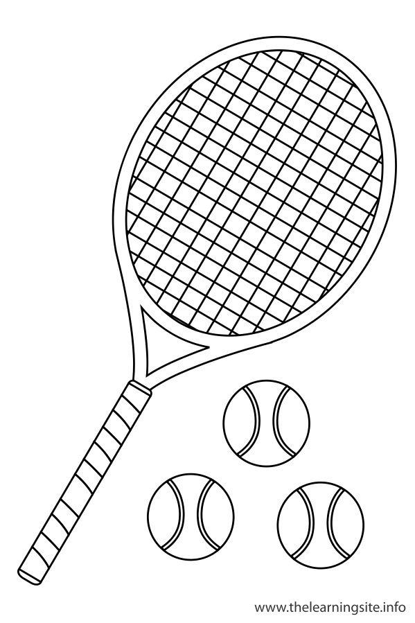 coloring-page-outline-sports-tennis-raquet-and-ball