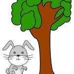 flashcard-preposition-by-rabbit-by-the-tree