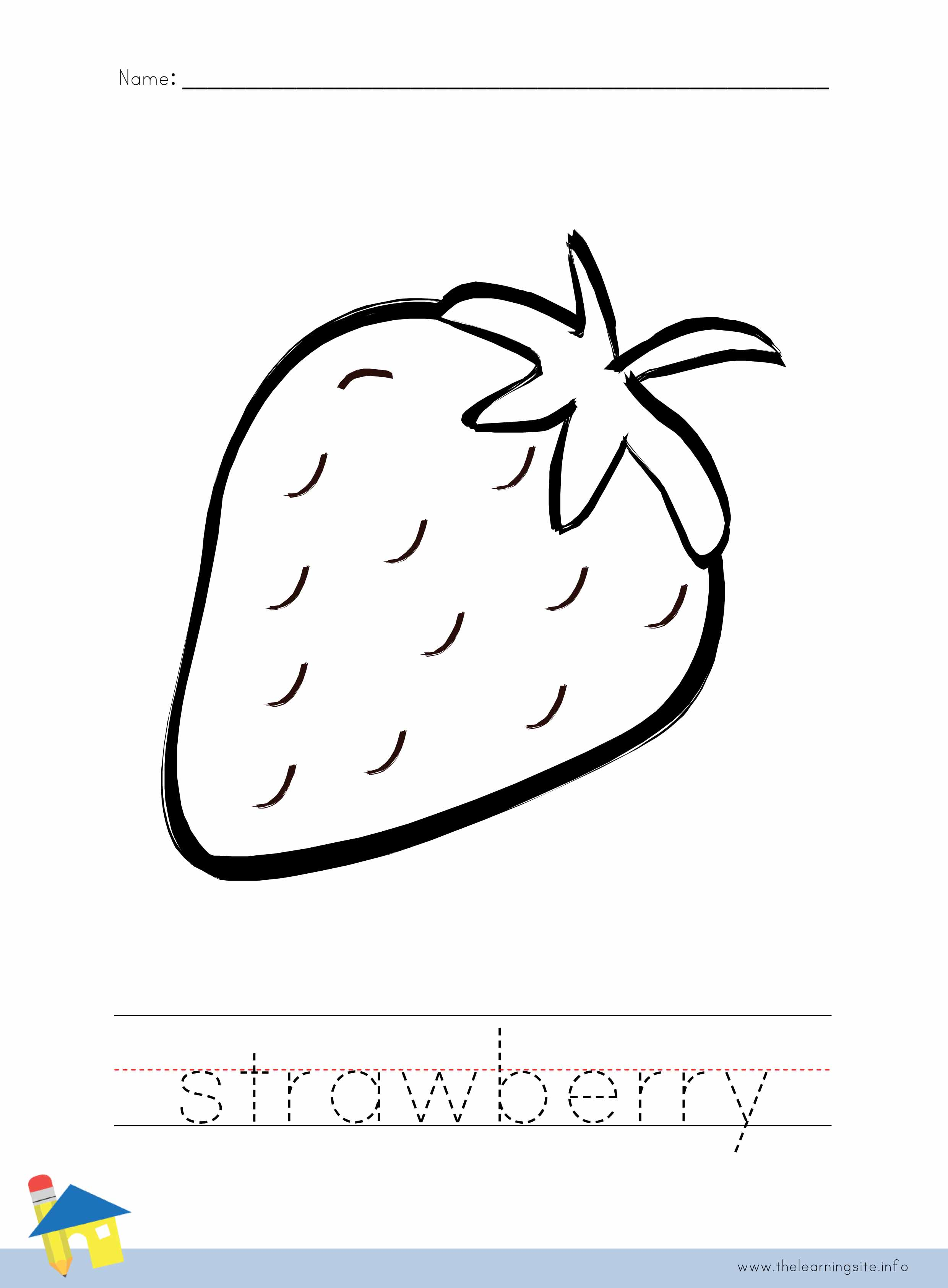 read more strawberry coloring page outline