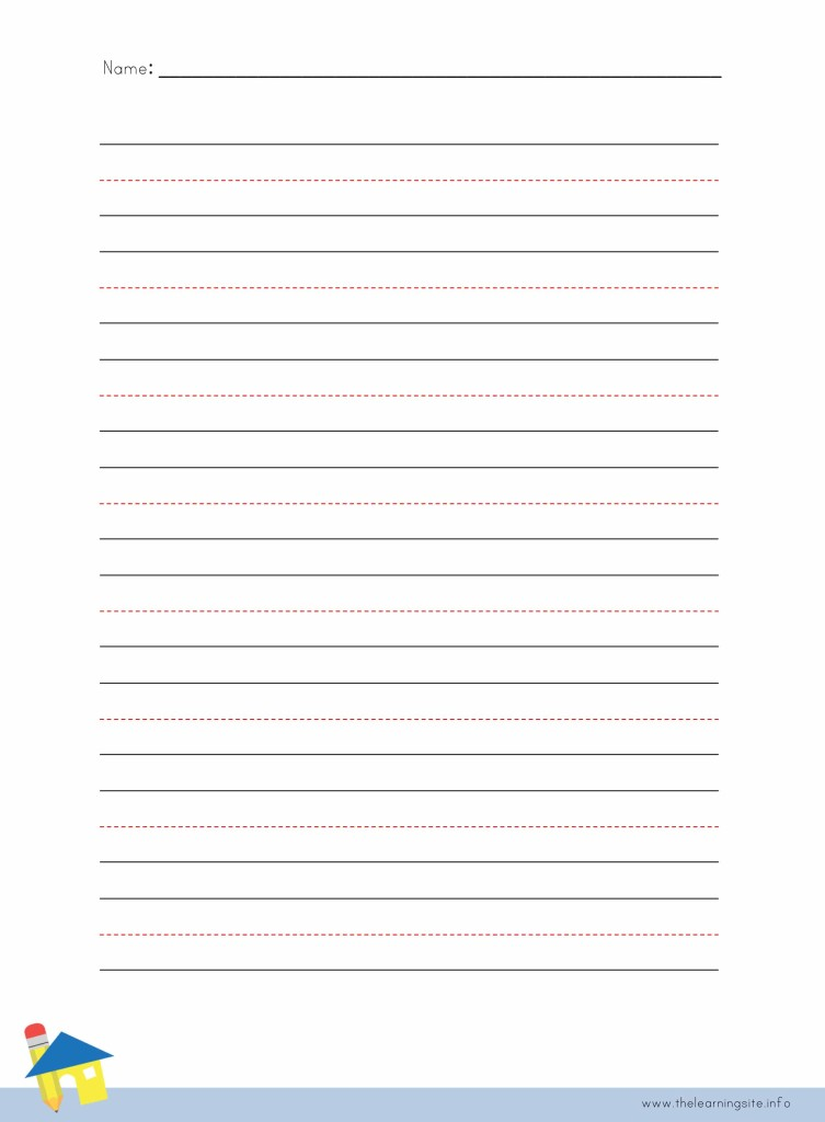 Kindergarten lined writing paper 5 writing paper for for Red line printing