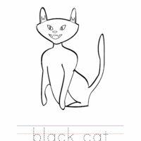 Black Cat Coloring Worksheet