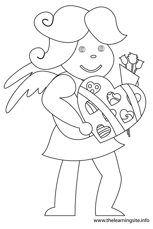 coloring-page-valentinesday-cupid-bringing-chocolates-and-flowers