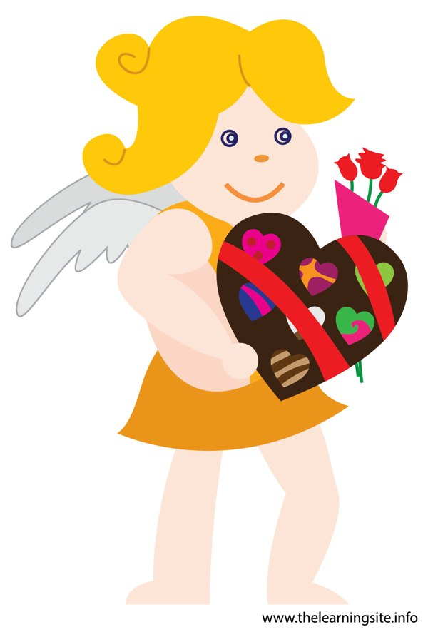 flashcard-valentinesday-cupid-bringing-chocolates-and-flowers