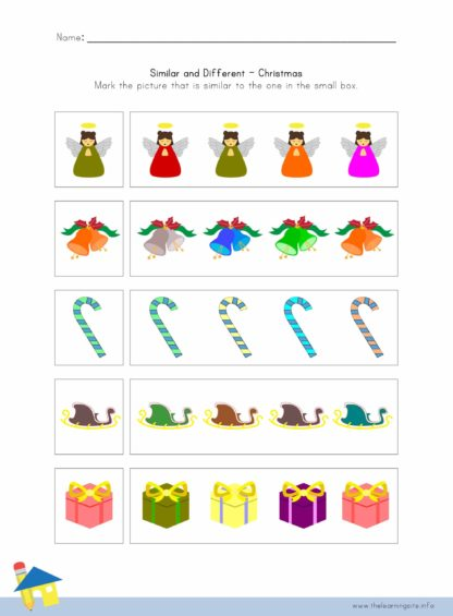Christmas Similar and Different Worksheet 2