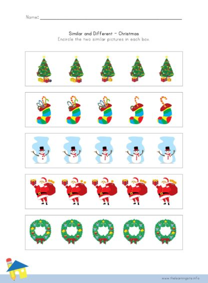 Christmas Similar and Different Worksheet 3