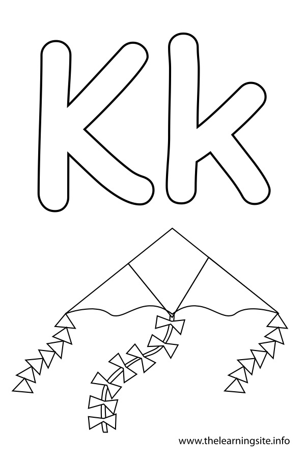 coloring-page-outline-alphabet-letter-k-kite