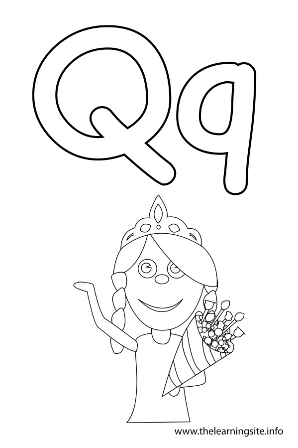 coloring-page-outline-alphabet-letter-q-queen