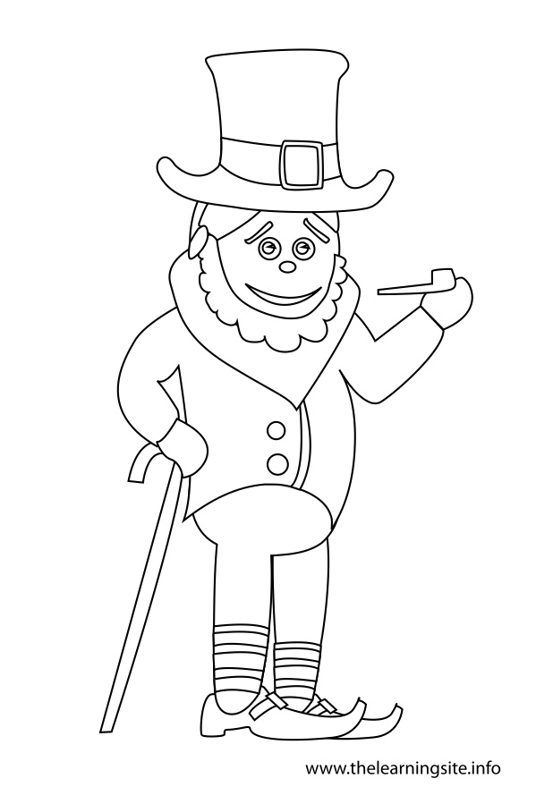 coloring-page-outline-boy-in-leprechaun-costume