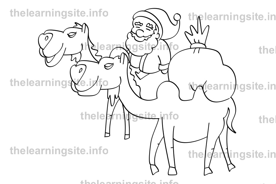 coloring-page-outline-christmas-santa-camel-sample