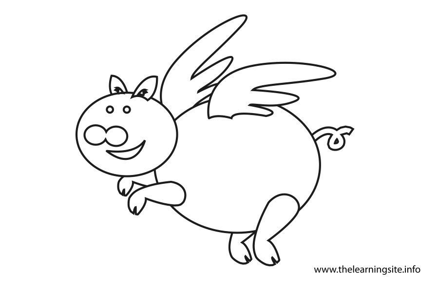 coloring-page-outline-flying-pig
