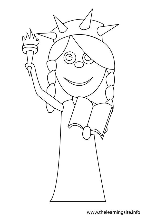 coloring-page-outline-girl-in-a-statue-of-liberty-costume